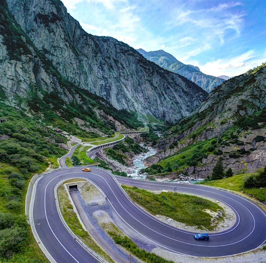 Switzerland, Uri - July, 2020: Hairpin bends in the Schoellenen gorges in the swiss alps