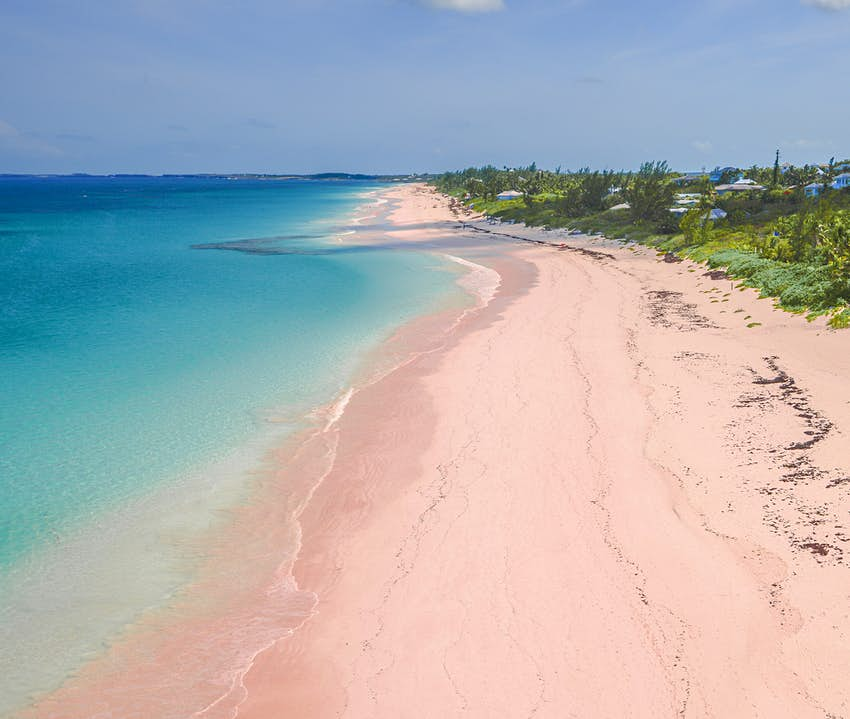 Aerial view of Pink Sand Beach on Harbour Island