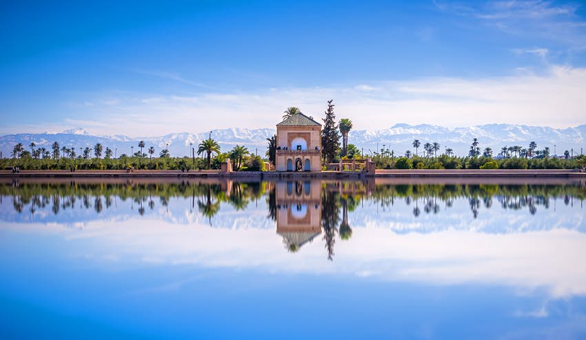 Menara Gardens with Atlas Mountains in the background in Marrakesh, Morocco