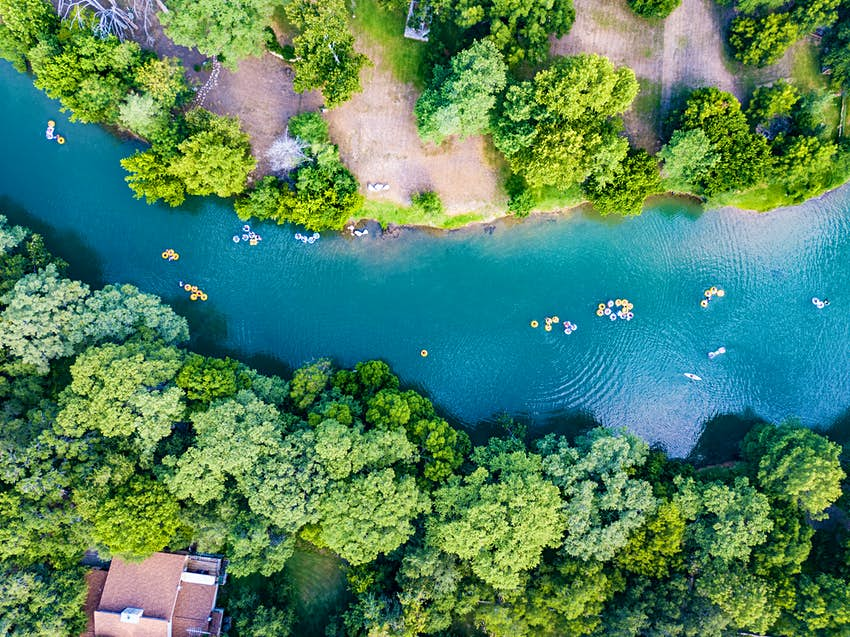 Floating down the Guadaloupe River near New Braunfels, Texas