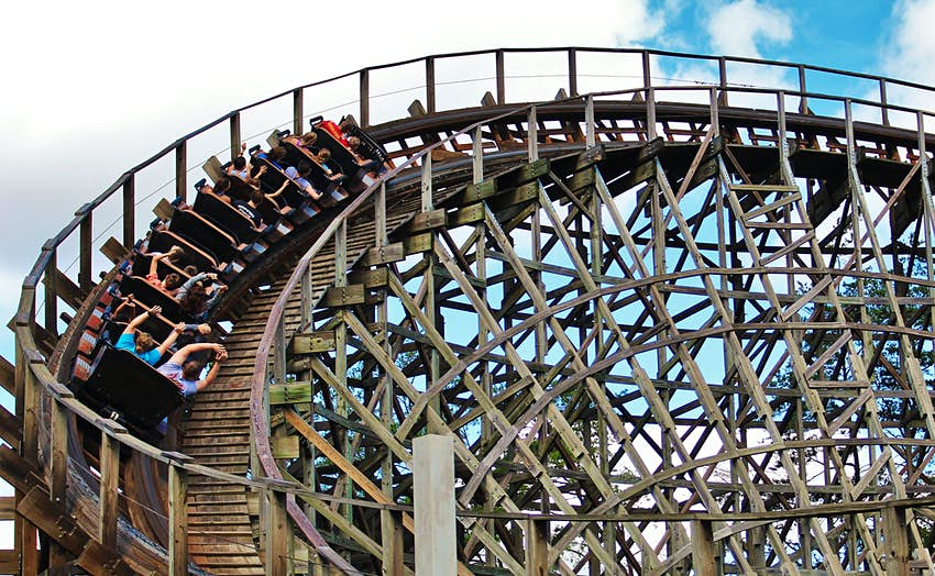 People on a wooden rollercoaster ride in Dollywood.