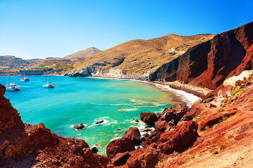 Red Beach on Santorini during summer