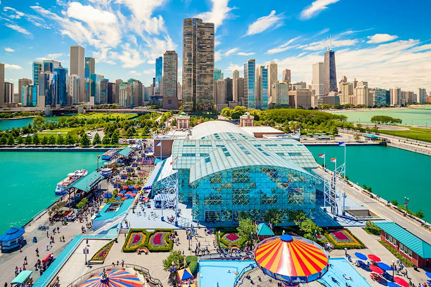 View of Navy Pier with Chicago's skyline in the background