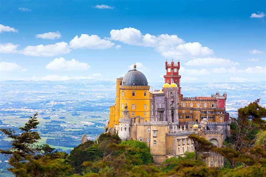 Aerial view of  Palace da Pena - Sintra, Lisboa,  Portugal - European travel,  Horizontal