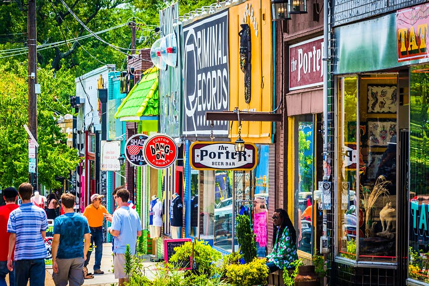 Shops and pedestrians in Little Five Points