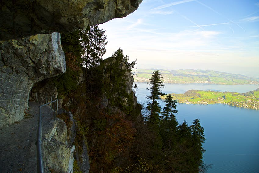 Lake Lucerne, as seen from a mountain trail on Bürgenstock.