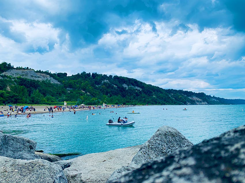 People at Bluffer's Park and Beach in Toronto