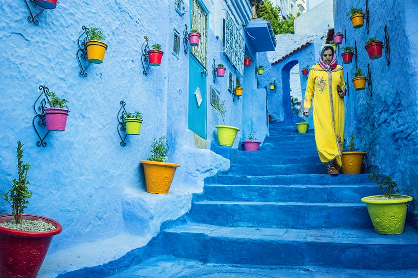 Blue steps and walls on a street in Chefchaouen, Morocco
