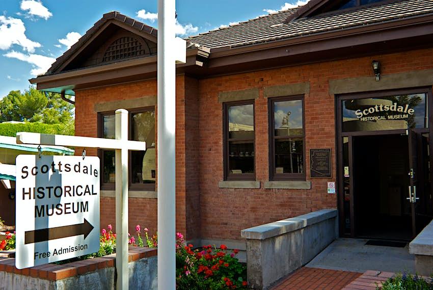 Old Town Scottsdale Historical Museum Main Street in former red brick Grammar School