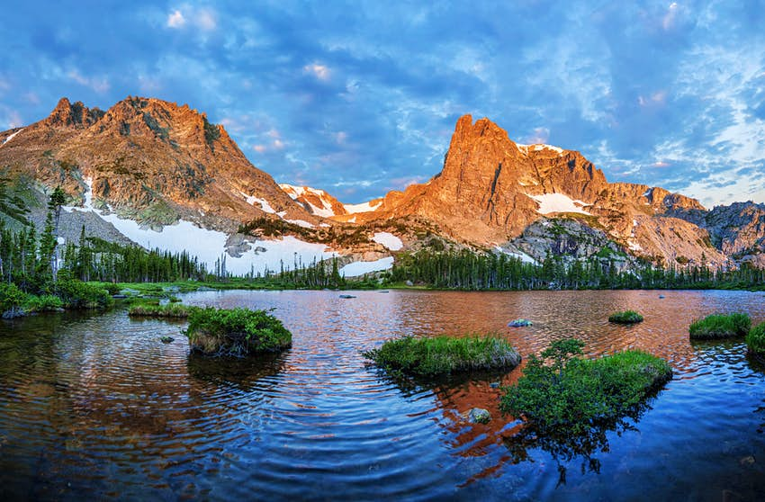 Sunrise at Lake Helene in Rocky Mountain National Park, Colorado