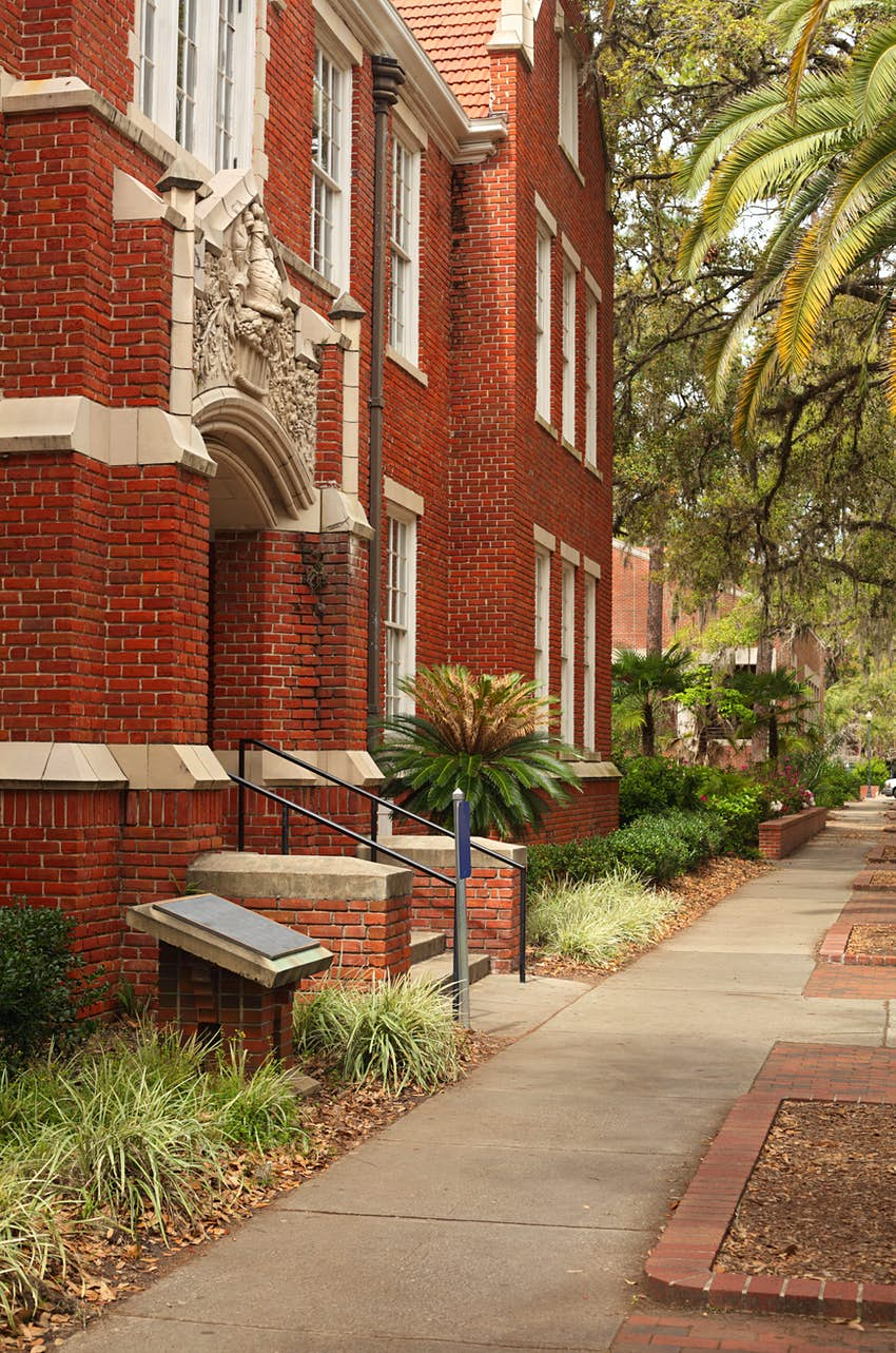 The red bricks of an academic building