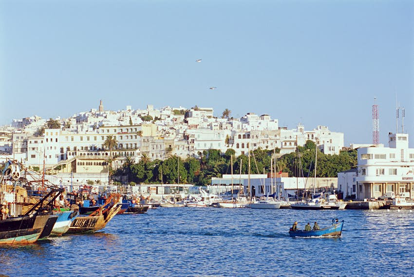View of old city from the harbor of Tangier, Morocco