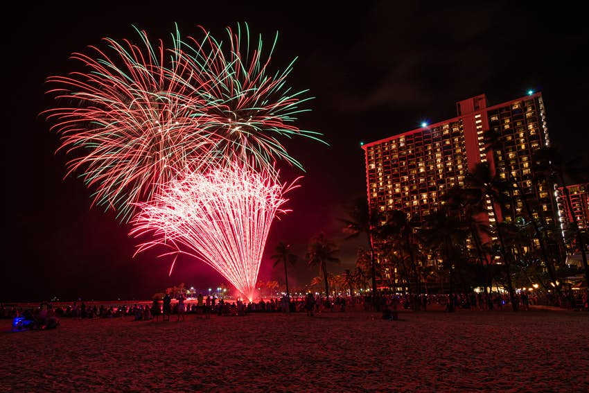 Fireworks exploding over a beach scene