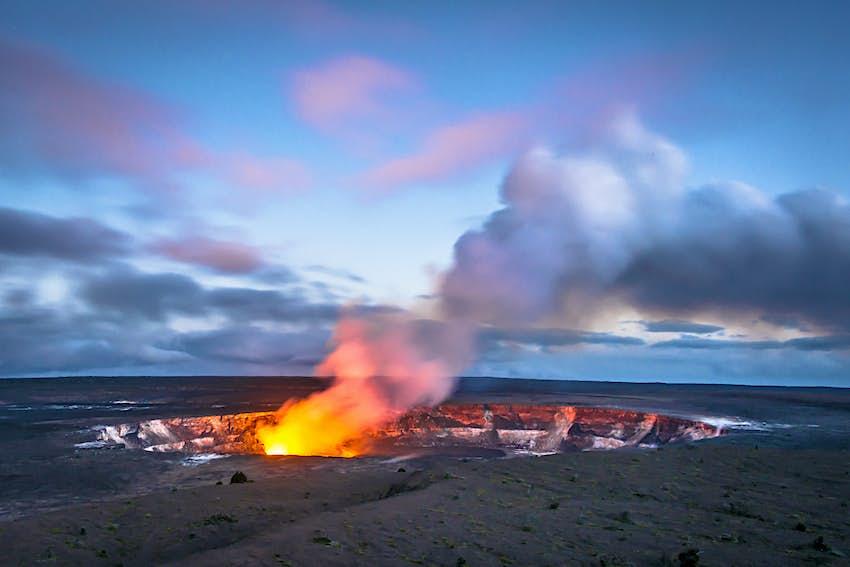 Hawaii's Kilauea Caldera at Twilight, Hawaii Volcanoes National Park