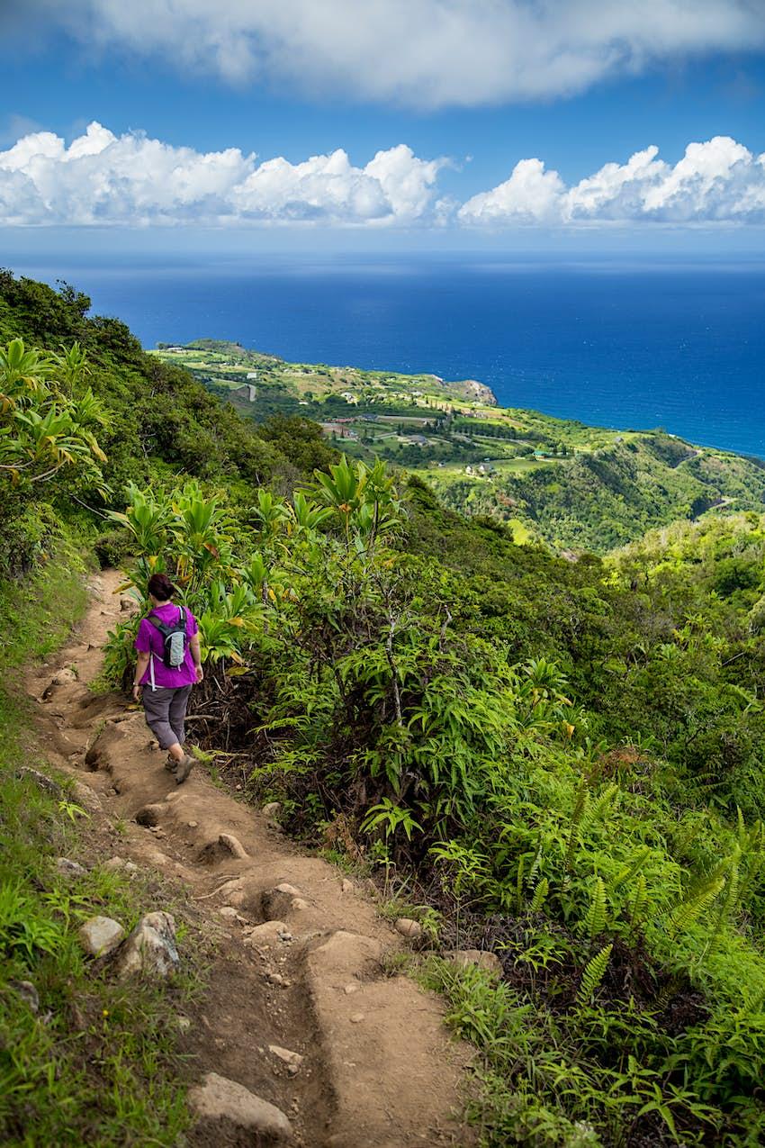 Woman hiking, Waihe'e, Maui, Hawaii
