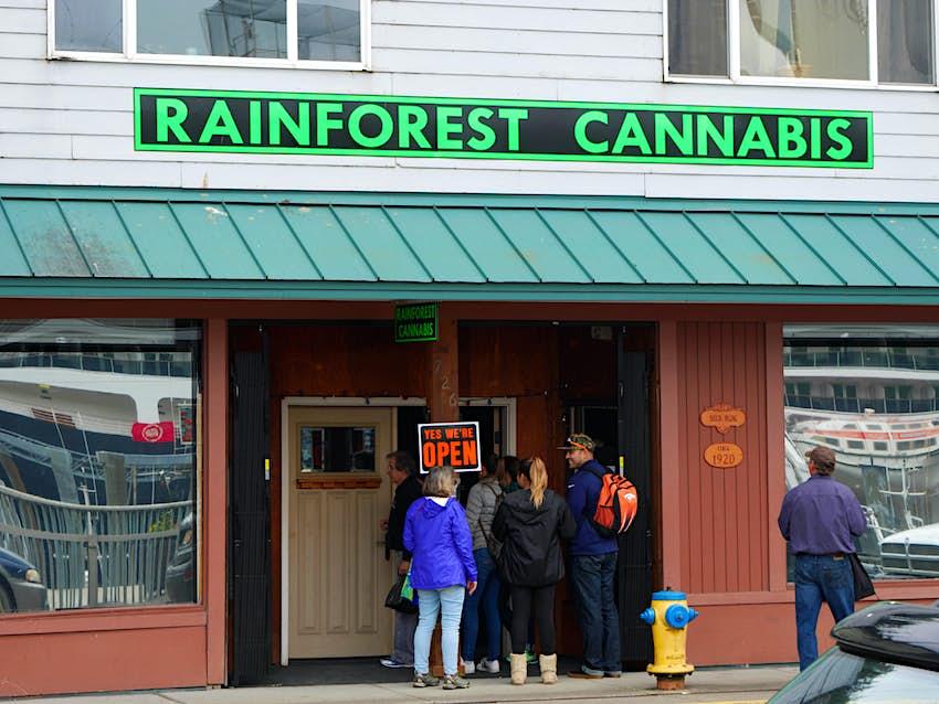 Cannabis store, Ketchikan, Alaska, USA.