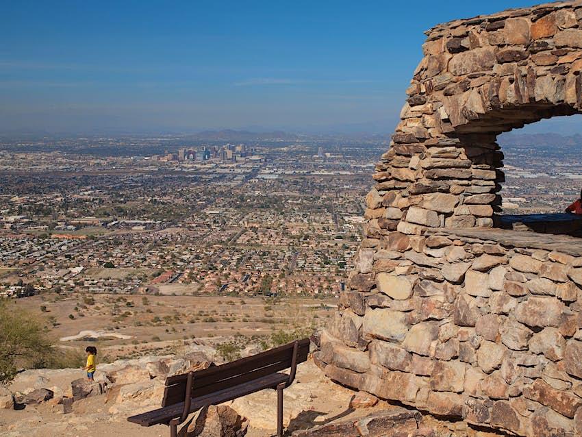 South Mountain Park, Phoenix Arizona. Looking north towards downtown Phoenix, Az