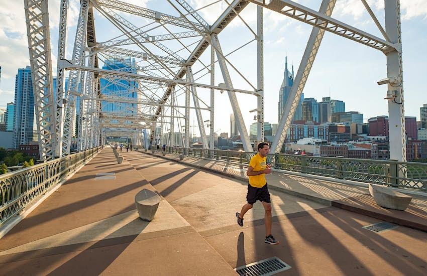 John Seigenthaler Pedestrian Bridge, Nashville, Davidson County, Tennessee, USA