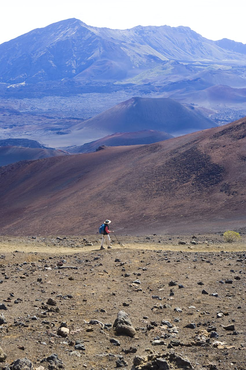 A hiker on the Sliding Sands Trail in Hawaii