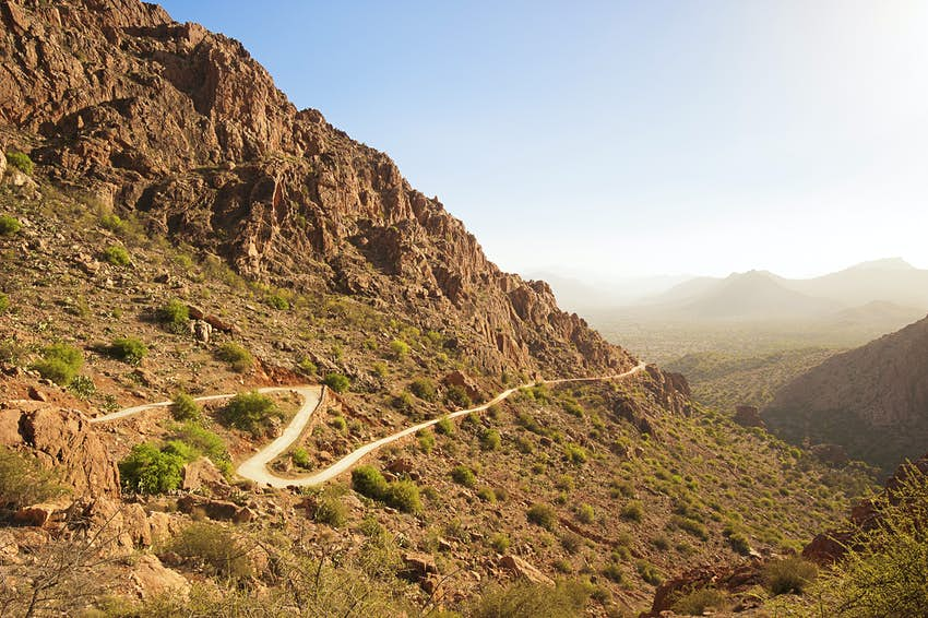 Winding trail through Anti Atlas Mountains, Morocco