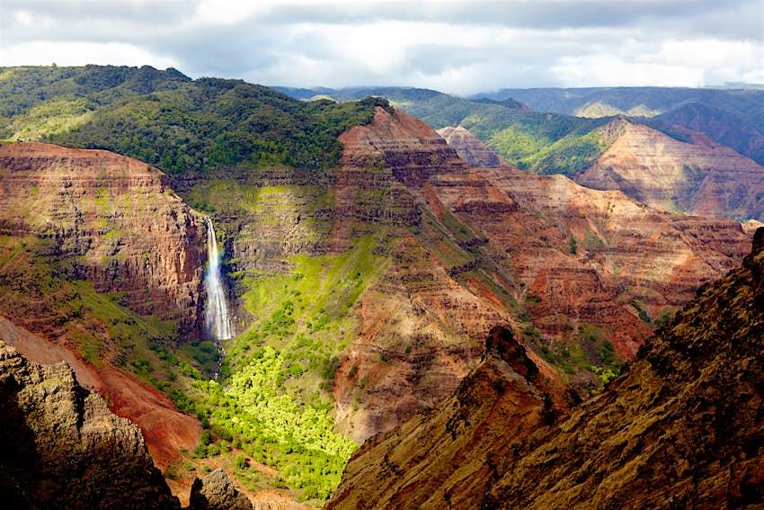An overhead view of Waipo'o Falls in Kaua'i, Hawaii