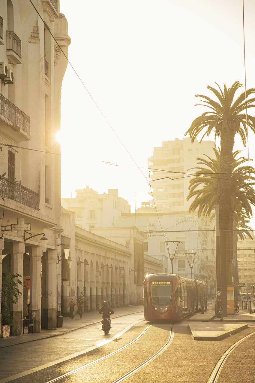 Tramway along Boulevard Mohammed V in Casablanca, Morocco