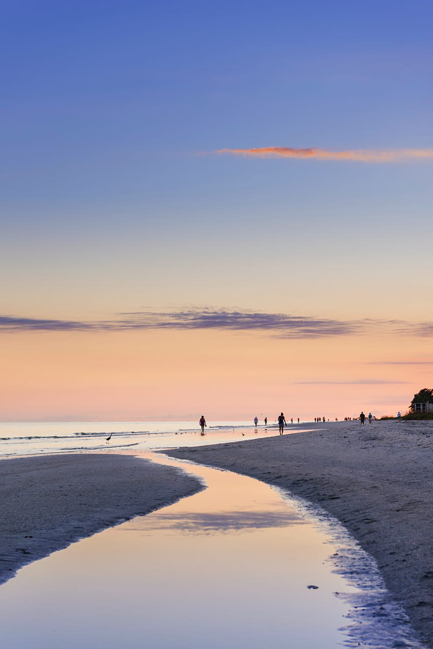 A view of the sunset on a beach at Sanibel Island