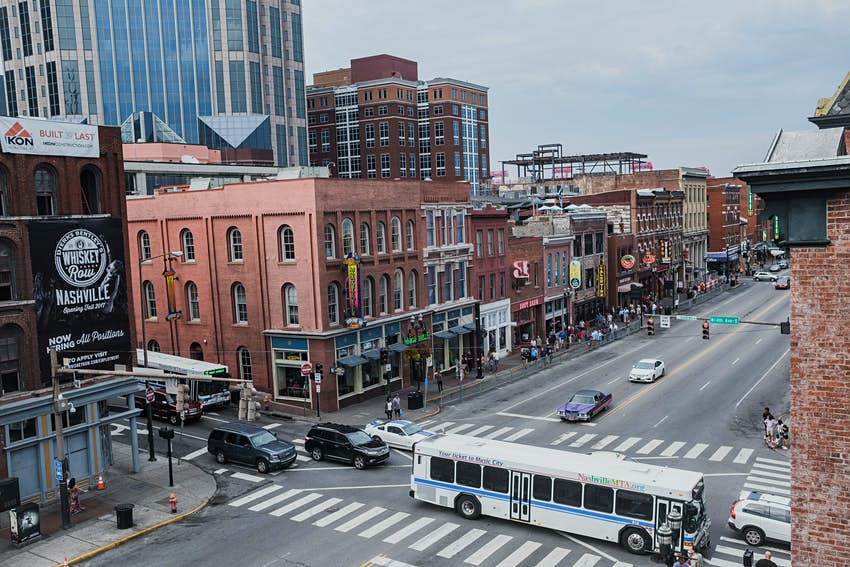 Looking down at a busy street junction, Nashville, Tennessee, North America