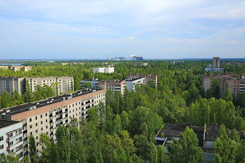 An aerial view of Pripyat in Ukraine.