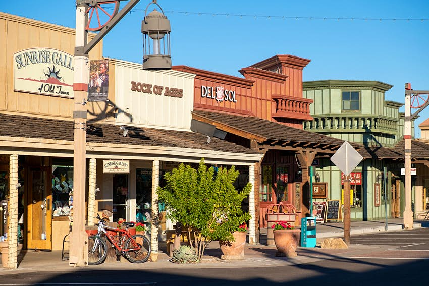 A row of old stores in Old Town Scottsdale, Scottsdale, Phoenix, Arizona, USA