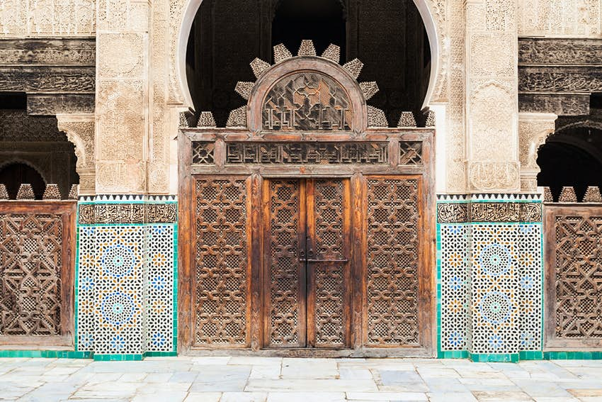 Door at the Medersa Bou Inania in Fez, Morocco