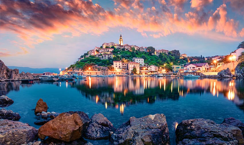 Evening sunset over Vrbnik town on Krk island.
