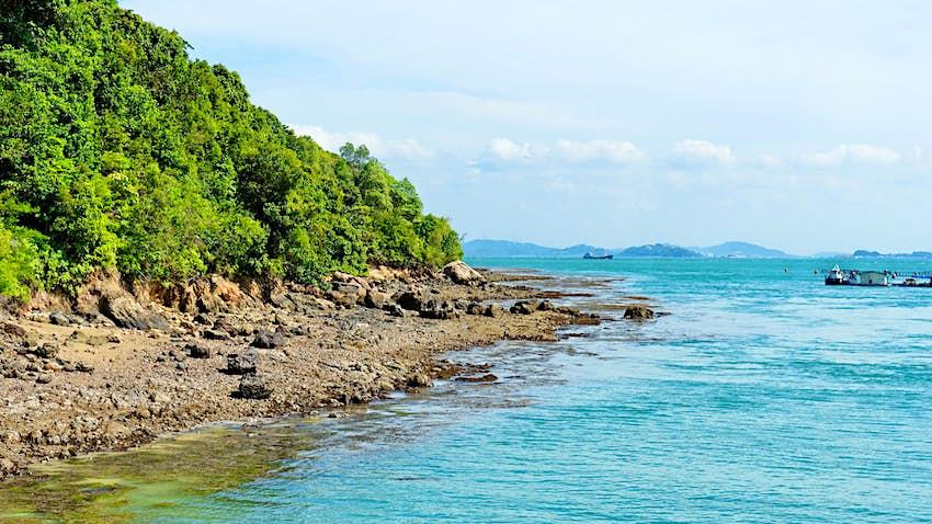 clear blue sea surrounding the island