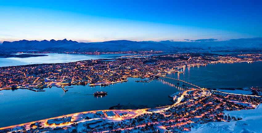 Aerial view of skyline in Tromsø, Norway