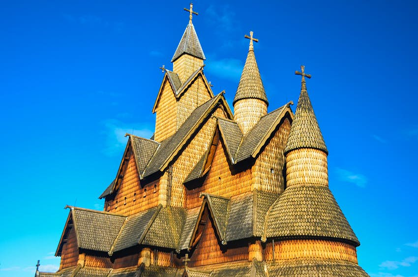 Roof of Heddal Stave Church in Norway