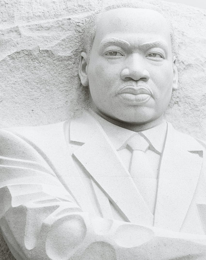A close up of the Martin Luther King Junior's likeness