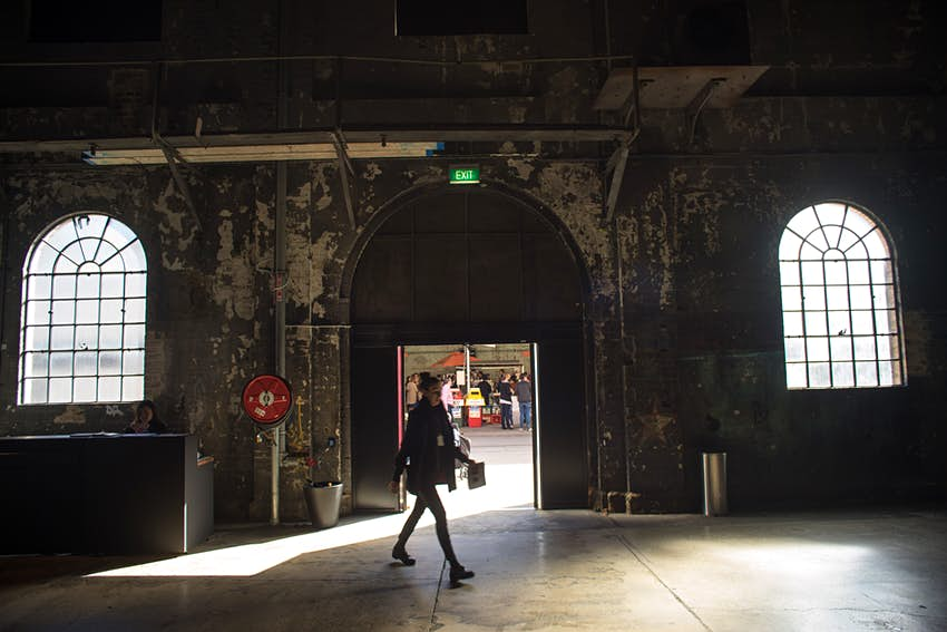 Visitor walking through Carriageworks in Sydney