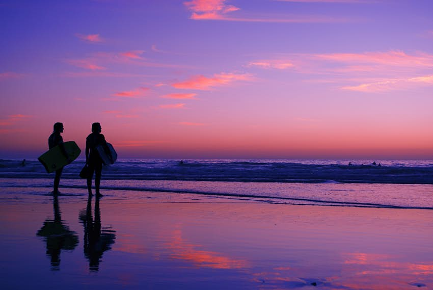 Beach at sunset in Taghazout, Morocco