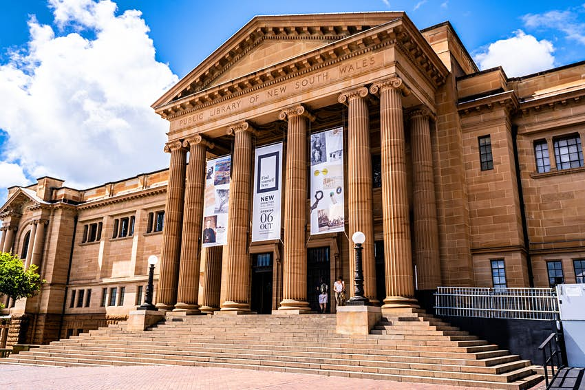 Front view of the State Library of NSW in Sydney