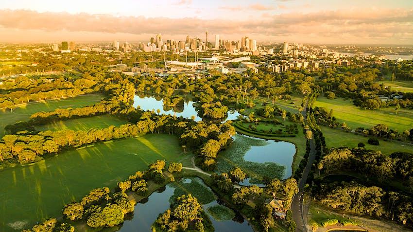Aerial view of Centennial Park, Sydney