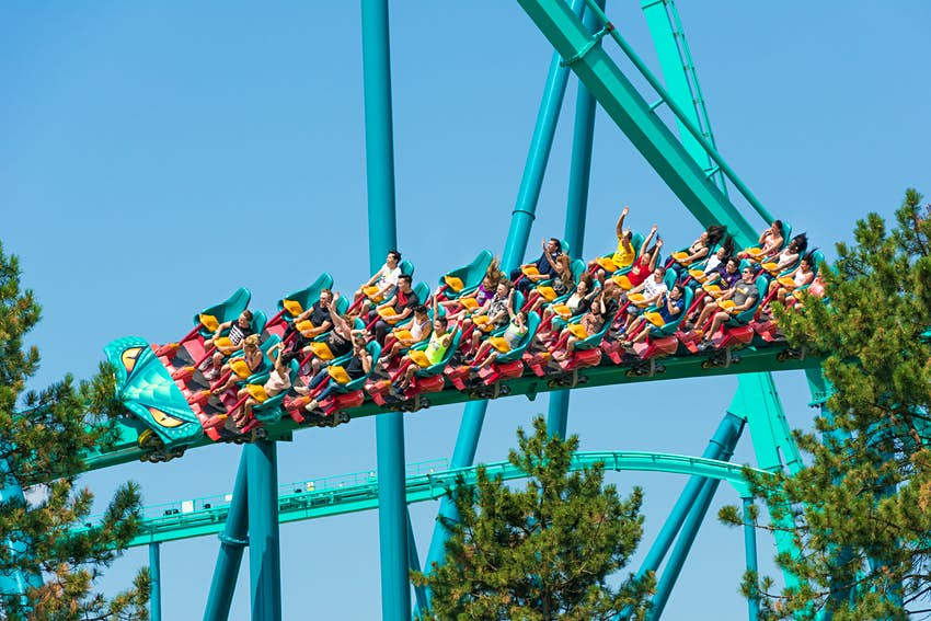 People using the Leviathan rollercoaster in Canada's Wonderland.