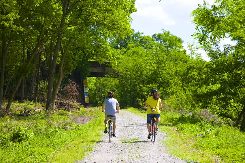 Man and woman bicycling on Atlanta BeltLine