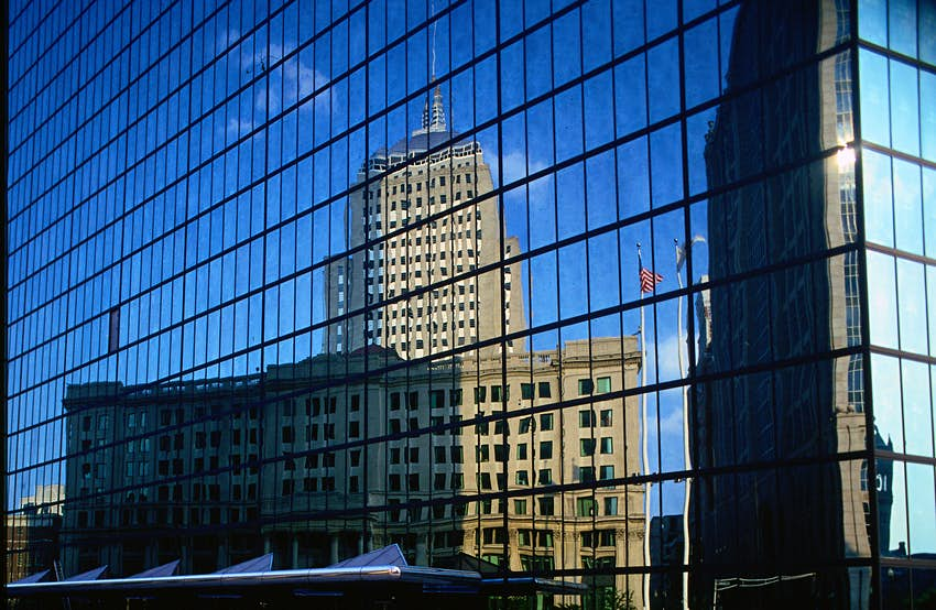 The Old Hancock Tower reflected in the New Hancock Tower - Boston, Massachusetts