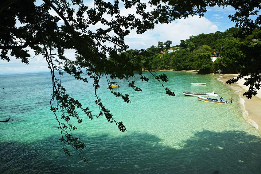 A view of Playa Galeon (Galleon Beach) on Isla Contadora. The shot is framed by leaves from a tree in the foreground. The beach has white sand and the turquoise waters are still and calm.