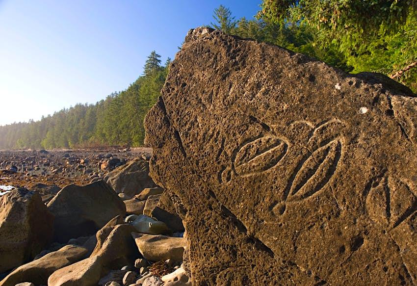 Petroglyphs at Wedding Rock, Olympic National Park, Washington
