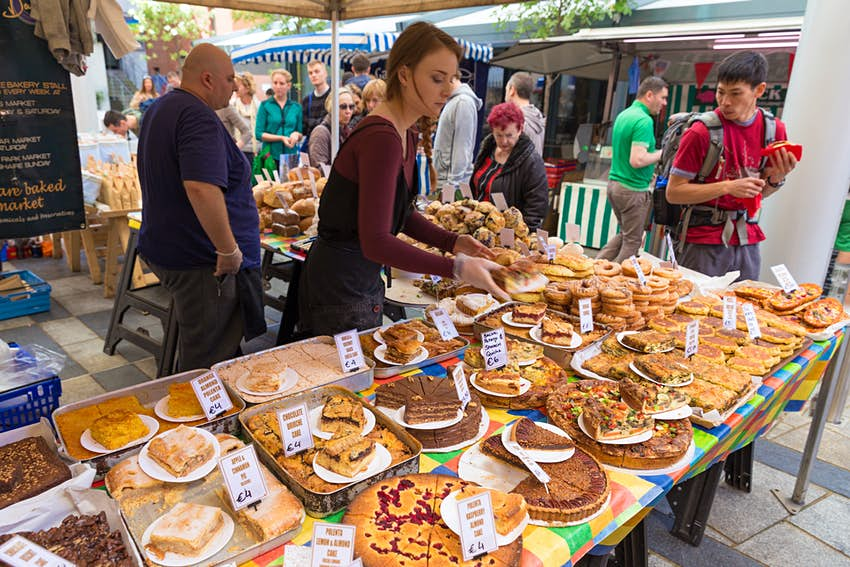 DUBLIN - MAY 17, 2014: Temple Bar Food Market is located at Meeting House Square. This weekly market takes place every Saturday in Dublins city centre.