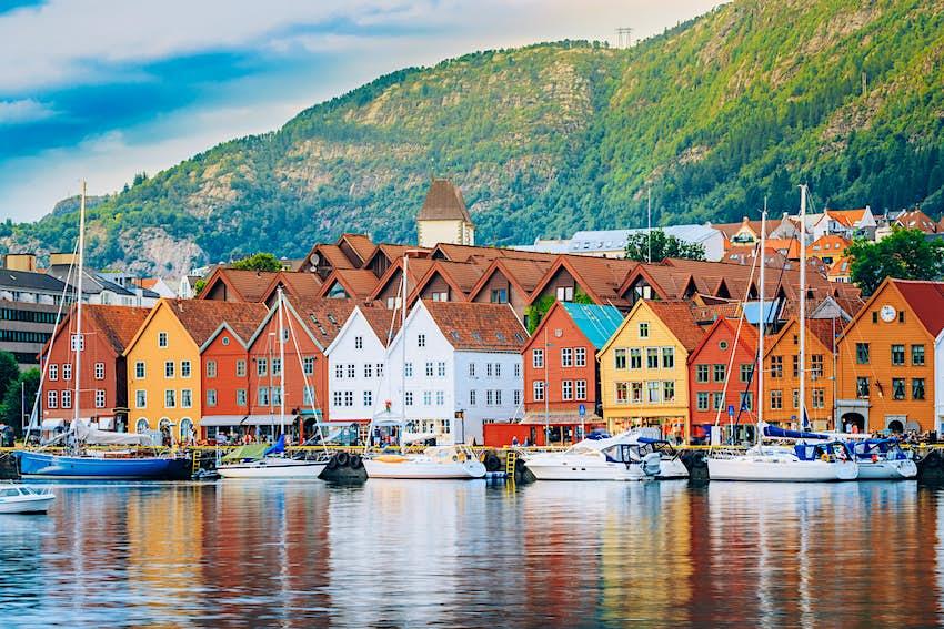 View of historical buildings in Bryggen- Hanseatic wharf in Bergen