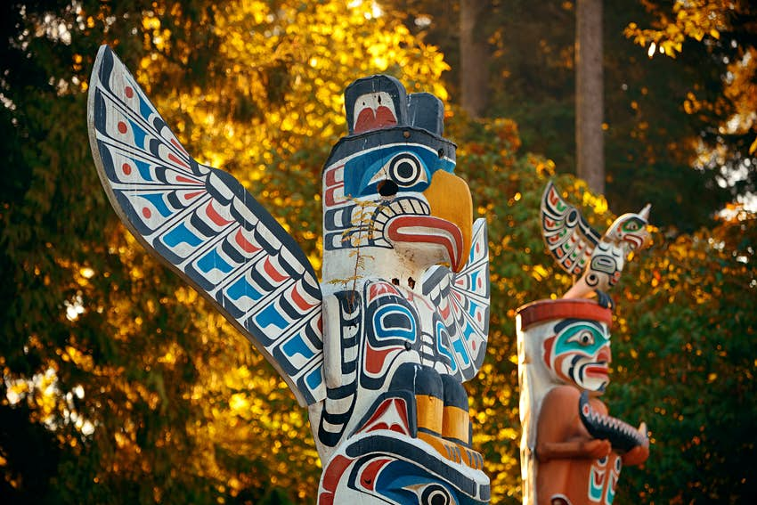 First Nations totem poles in Stanley park in Vancouver, Canada.