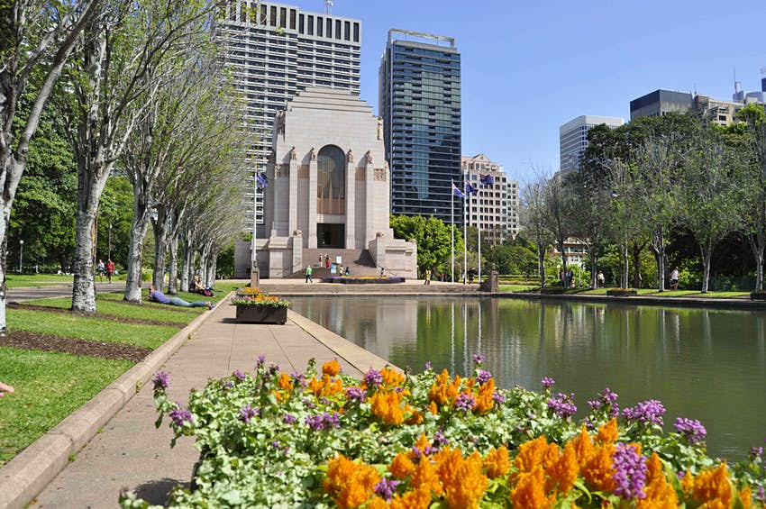 Flowers in front of the Anzac Memorial in Hyde Park, Sydney