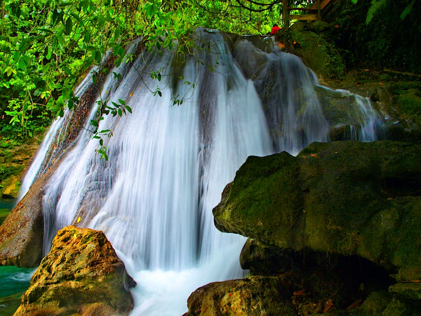 Close up of the rushing water of Reach Falls in Jamaica